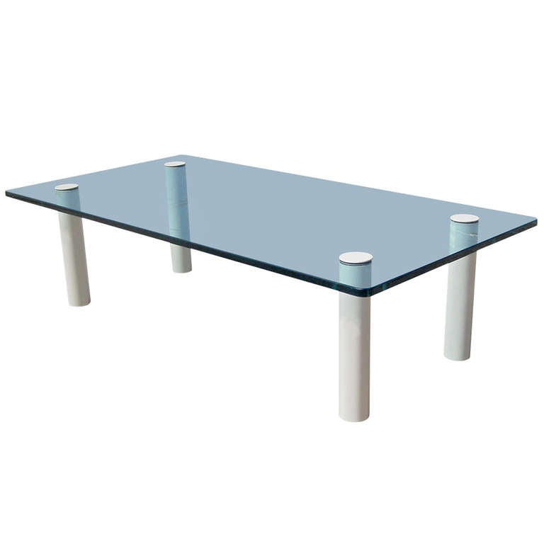 Glass top coffee table with white metal legs by pace at 1stdibs Metal glass top coffee table