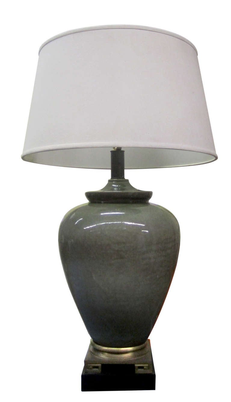 Bronze Base Ceramic Table Lamp In The Manner Of James Mont