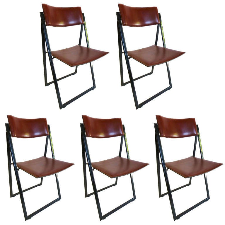 Matteograssi Leather Folding Chairs Set Of Five At 1stdibs