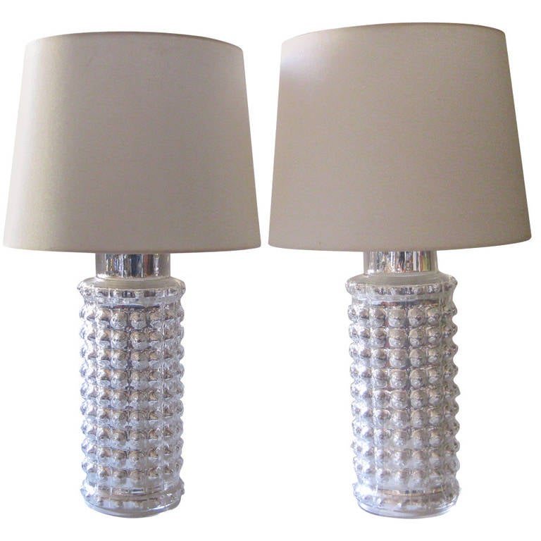 Pair Of Mercury Glass Lamps By Helena Tynell For Luxus For Sale