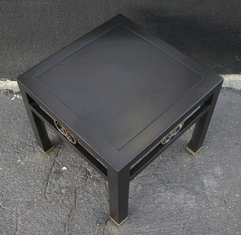 Wood Elegant Pair of Side Tables by Michael Taylor for Baker For Sale