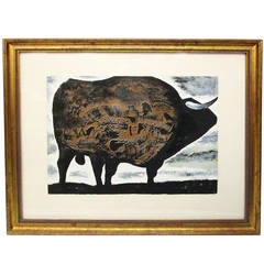 Lithograph of a Bull by Joaquin Vaquero Tucios