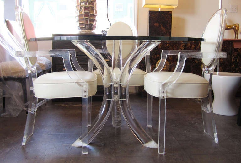 Charmant Louis XVI Lucite Dining Set By Charles Hollis Jones For Sale
