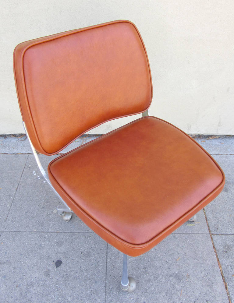 Industrial Style Cast Aluminum And Leather Office Chair
