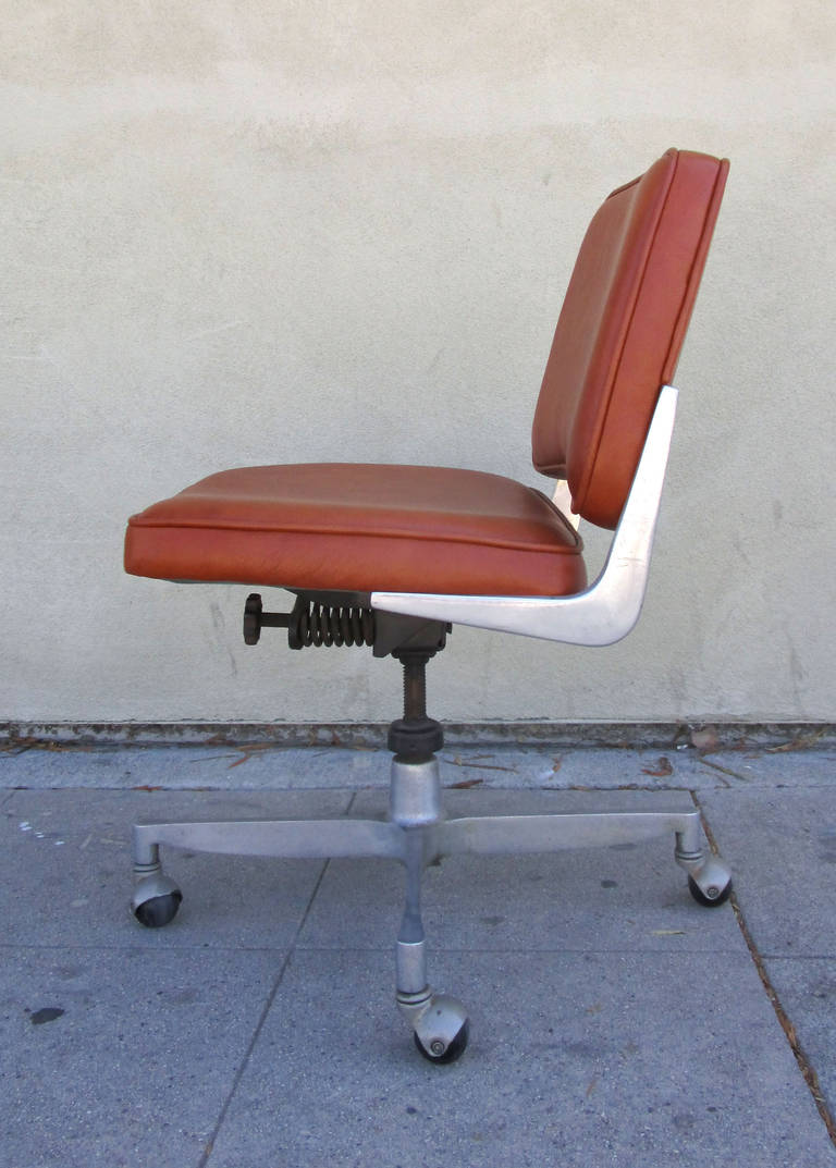 industrial style office chair. Industrial Style Cast Aluminum And Leather Office Chair In Excellent Condition For Sale Los Angeles