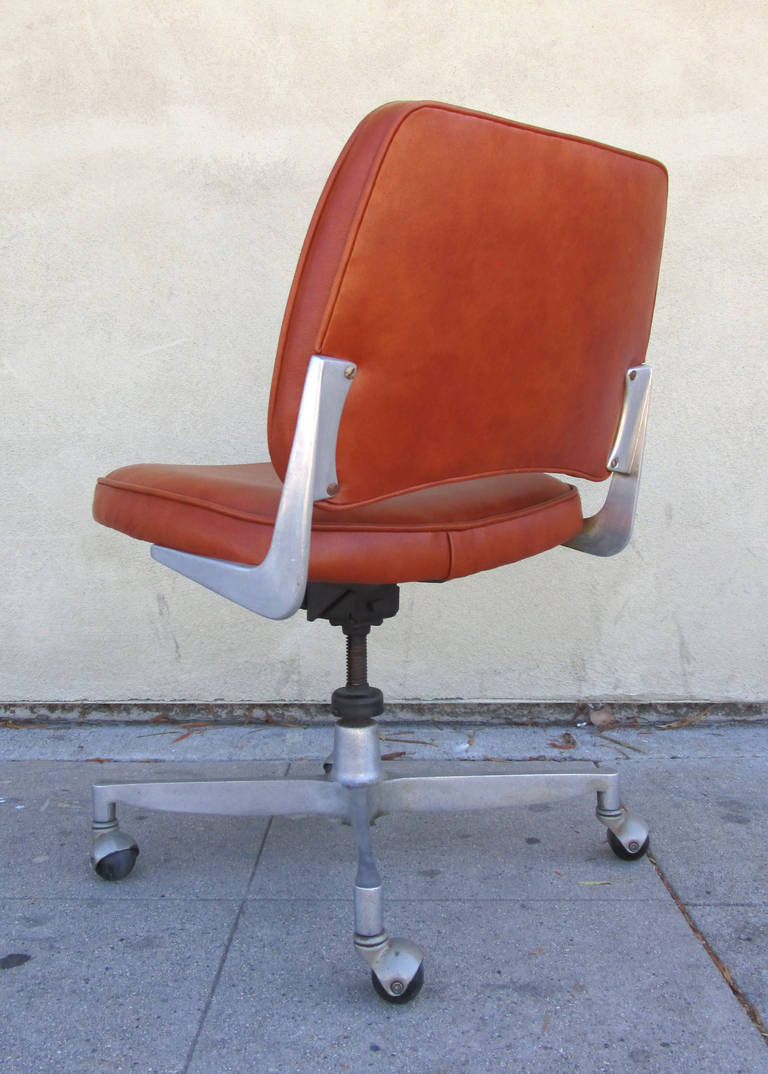 industrial style office chair. Mid-20th Century Industrial Style Cast Aluminum And Leather Office Chair For Sale L