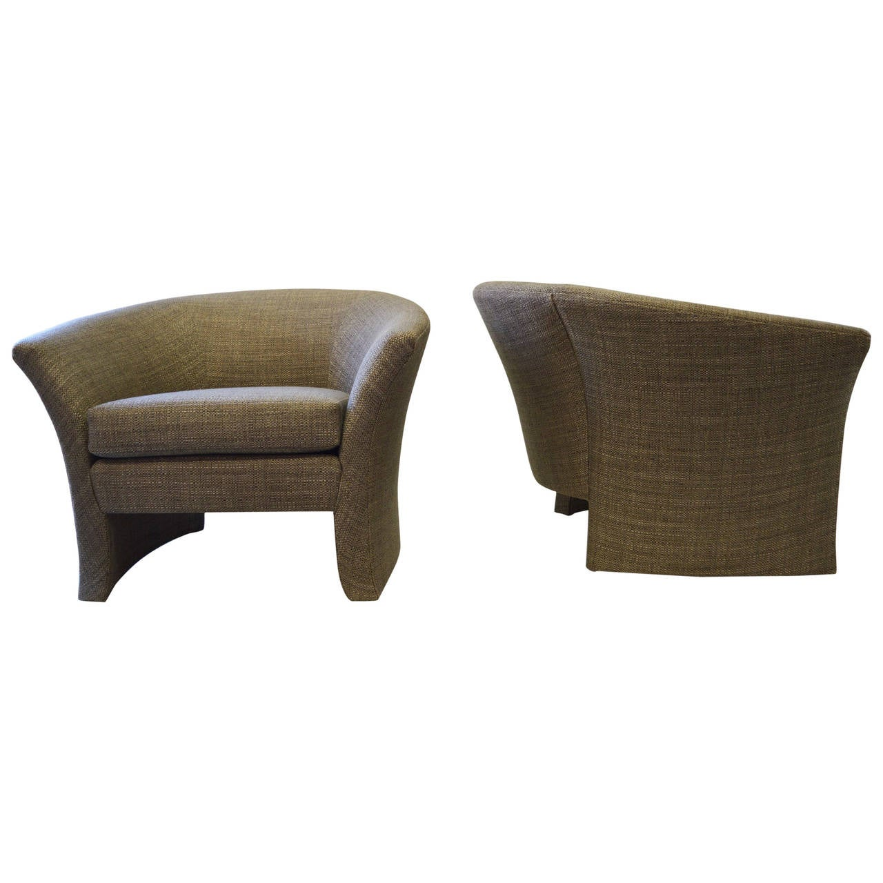 Pair of Architectural Shape Lounge Chairs