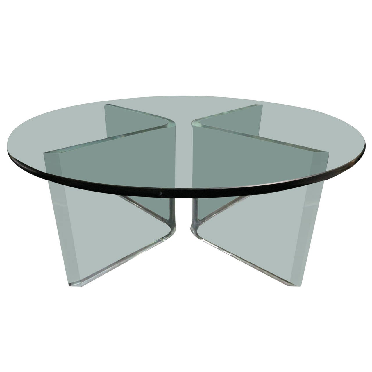 X-Shape Lucite Base Coffee Table For Sale At 1stdibs