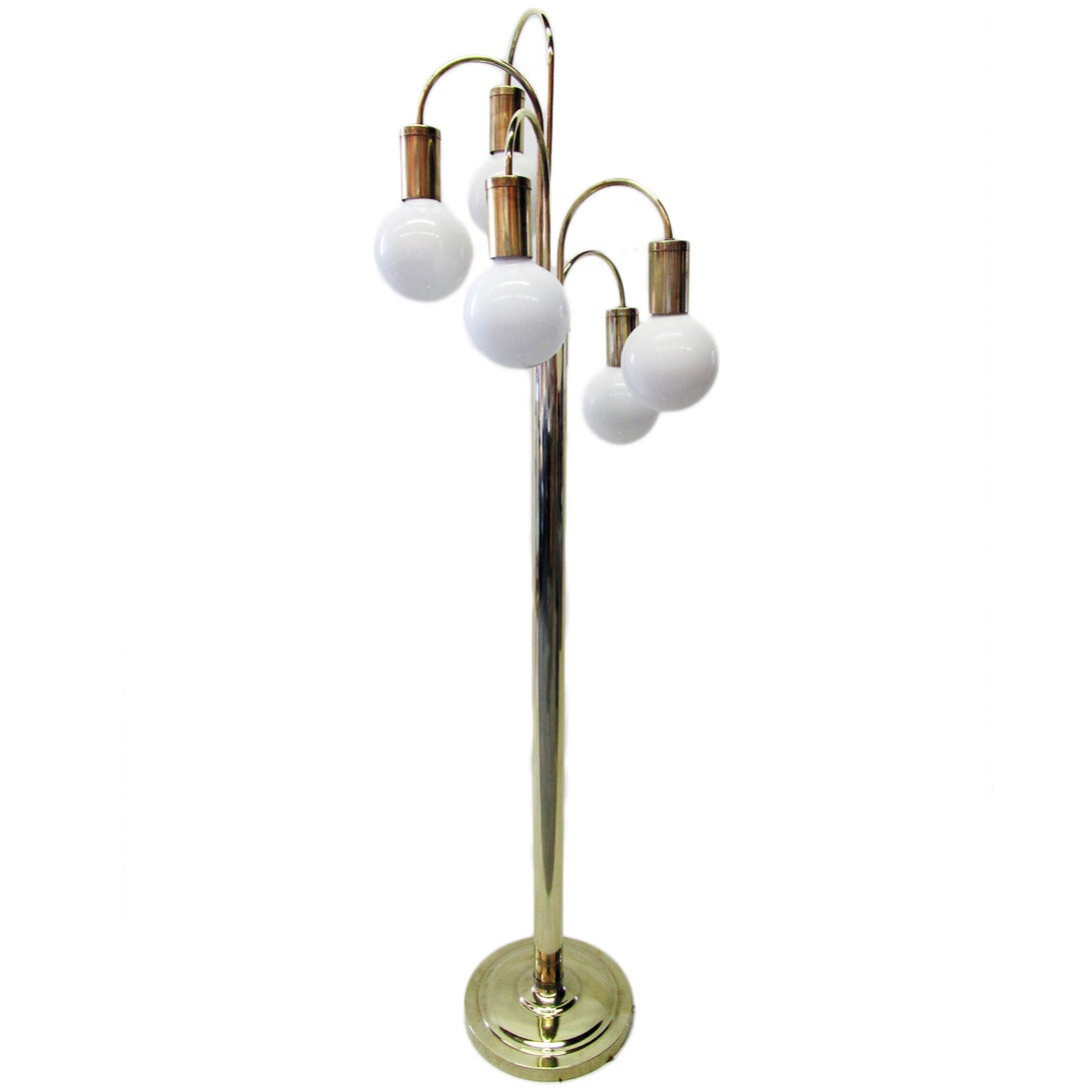 waterfall five arm brass floor lamp by robert sonneman for sale at. Black Bedroom Furniture Sets. Home Design Ideas