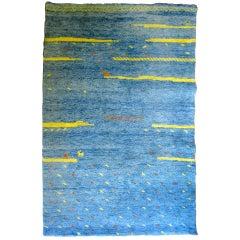 Bright Blue High-Pile Gabbeh Rug