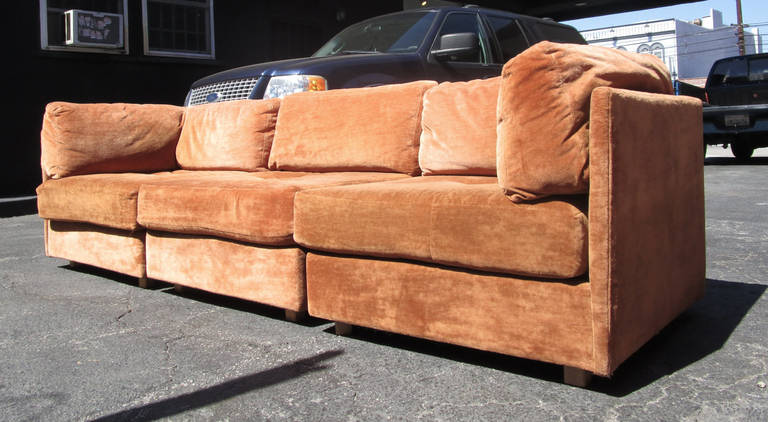 Three piece modular sectional sofa by milo baughman at 1stdibs for 3 piece modular sectional sofa