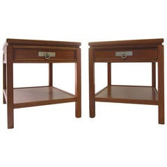 Pair of Blond Mahogany Side Tables or Nightstands