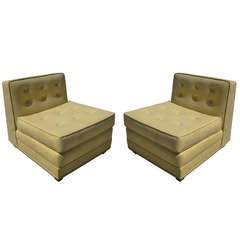 Mid-Century Modern Tufted Suede Slipper Chairs, Pair