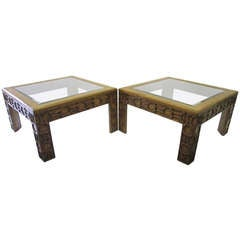 Mid-Century Modern Side Tables with Carved Detailing, Pair