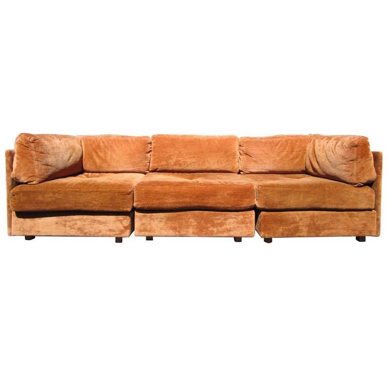 Three piece modular sectional sofa by milo baughman for 3 piece modular sectional sofa