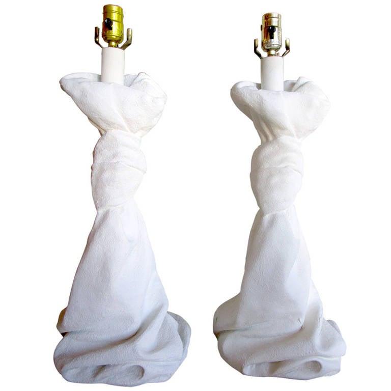 Pair of Draped Plaster Lamps after John Dickinson