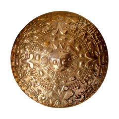 A Large Mexican Solar Motif Brass Wall Medallion