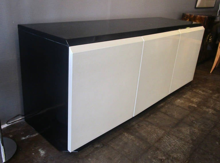 Canadian Glamorous Iridescent Lacquered Credenza by Roger Rougier For Sale