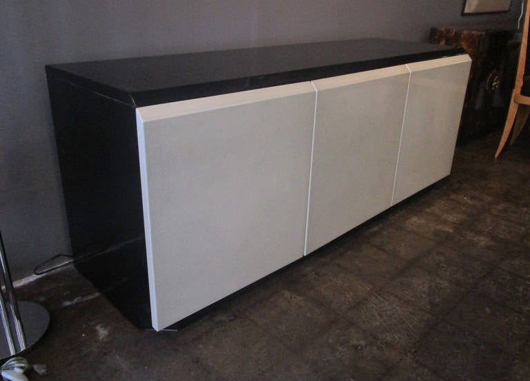 Wood Glamorous Iridescent Lacquered Credenza by Roger Rougier For Sale