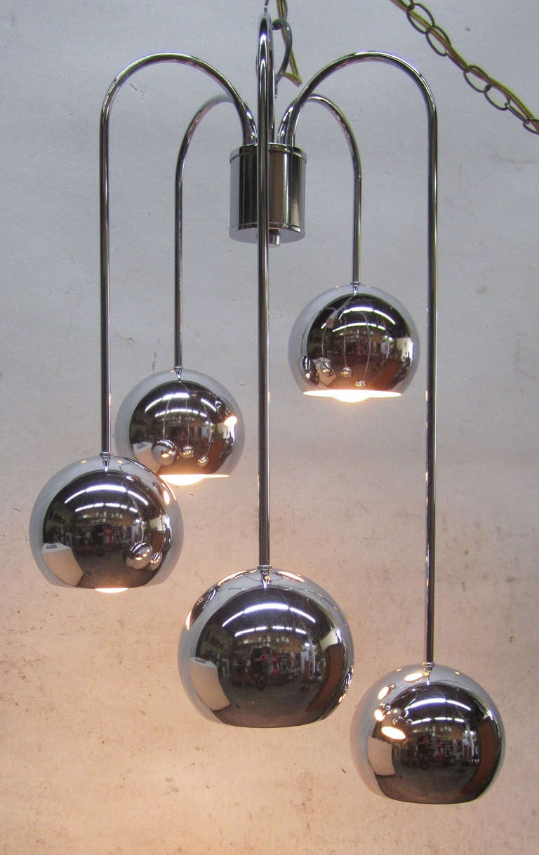 American Five-Tier Chrome Pendant Lamp by Robert Sonneman For Sale
