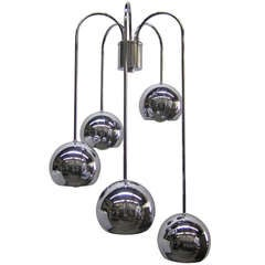 Five-Tier Chrome Pendant Lamp by Robert Sonneman