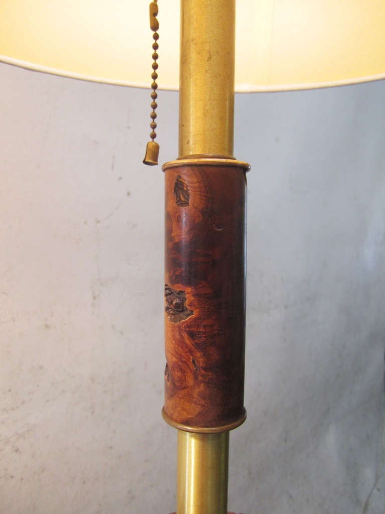 Paper Midcentury Brass and Organic Burled Wood Lamps, Pair For Sale