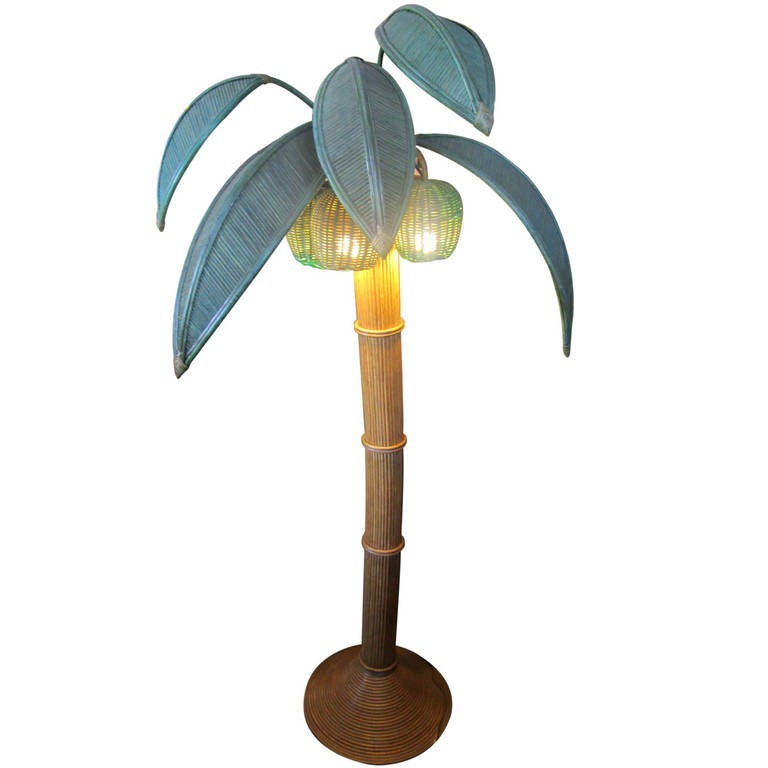 Palm tree floor lamp in rattan and bamboo at 1stdibs for Art deco palm tree floor lamp
