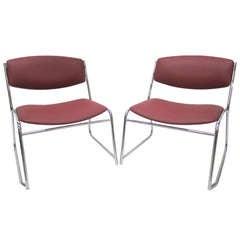 French Mid-Century Slipper Chairs, Pair