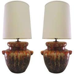 Ceramic & Orange Glaze Drip Lamps, Pair