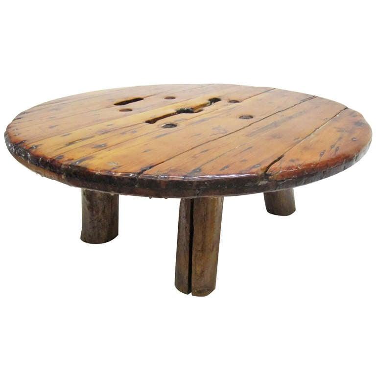 Unusual Roughly Hewn Wood Coffee Table At 1stdibs
