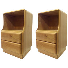Blonde Wood Nightstands by Heywood Wakefield