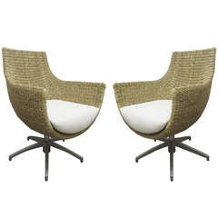 Unusual Wicker and Cast Aluminum Egg Chairs, Pair