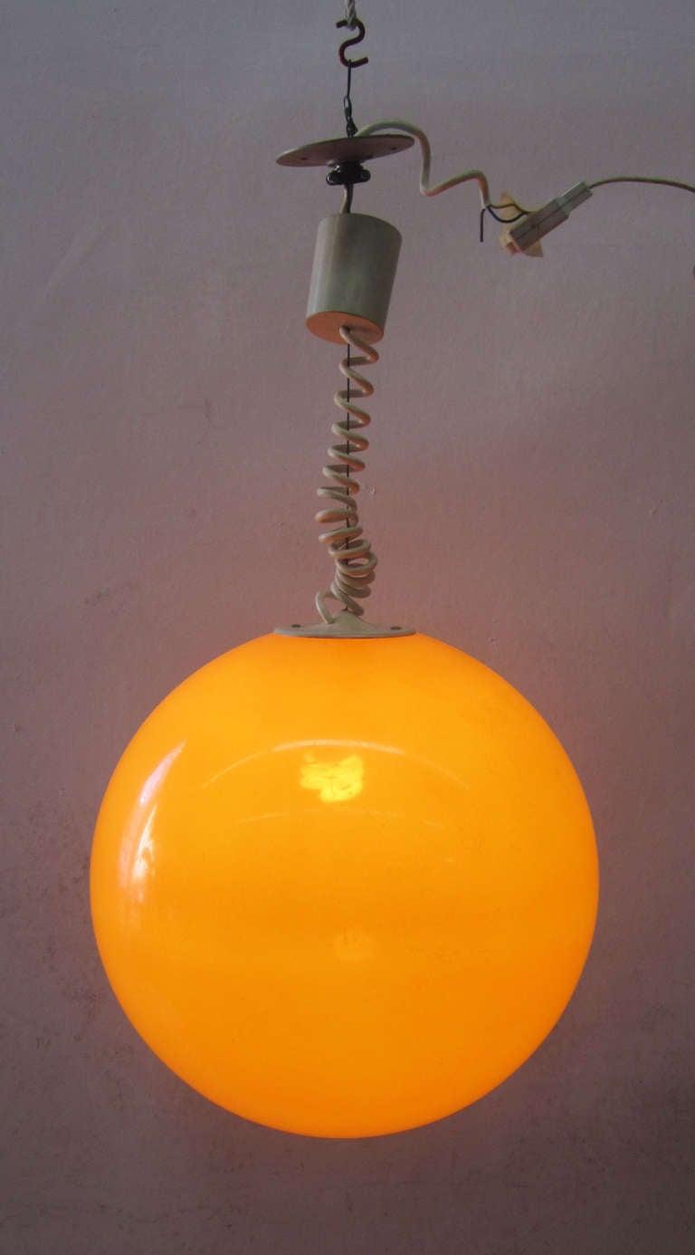 Adjustable Orange Ball Pendant Light From France At 1stdibs