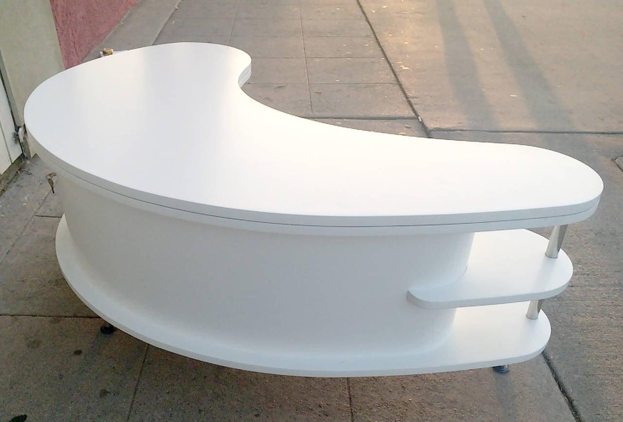 kidney shape coffee table with collapsible bar at 1stdibs