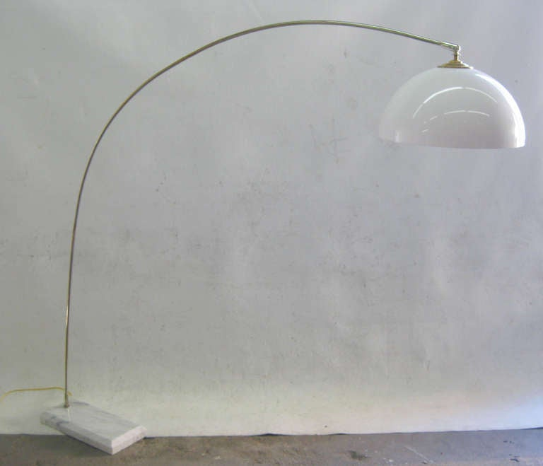 Arc Lamp With White Marble Base At 1stdibs