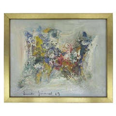 French Mid-Century Abstract Painting by Emile Girard