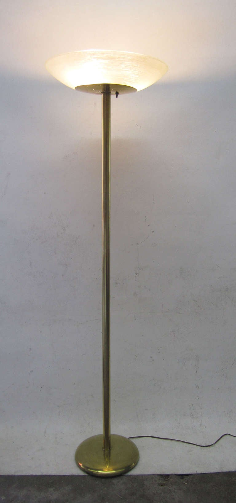Mid Century Modern Brass And Frosted Glass Torchiere At