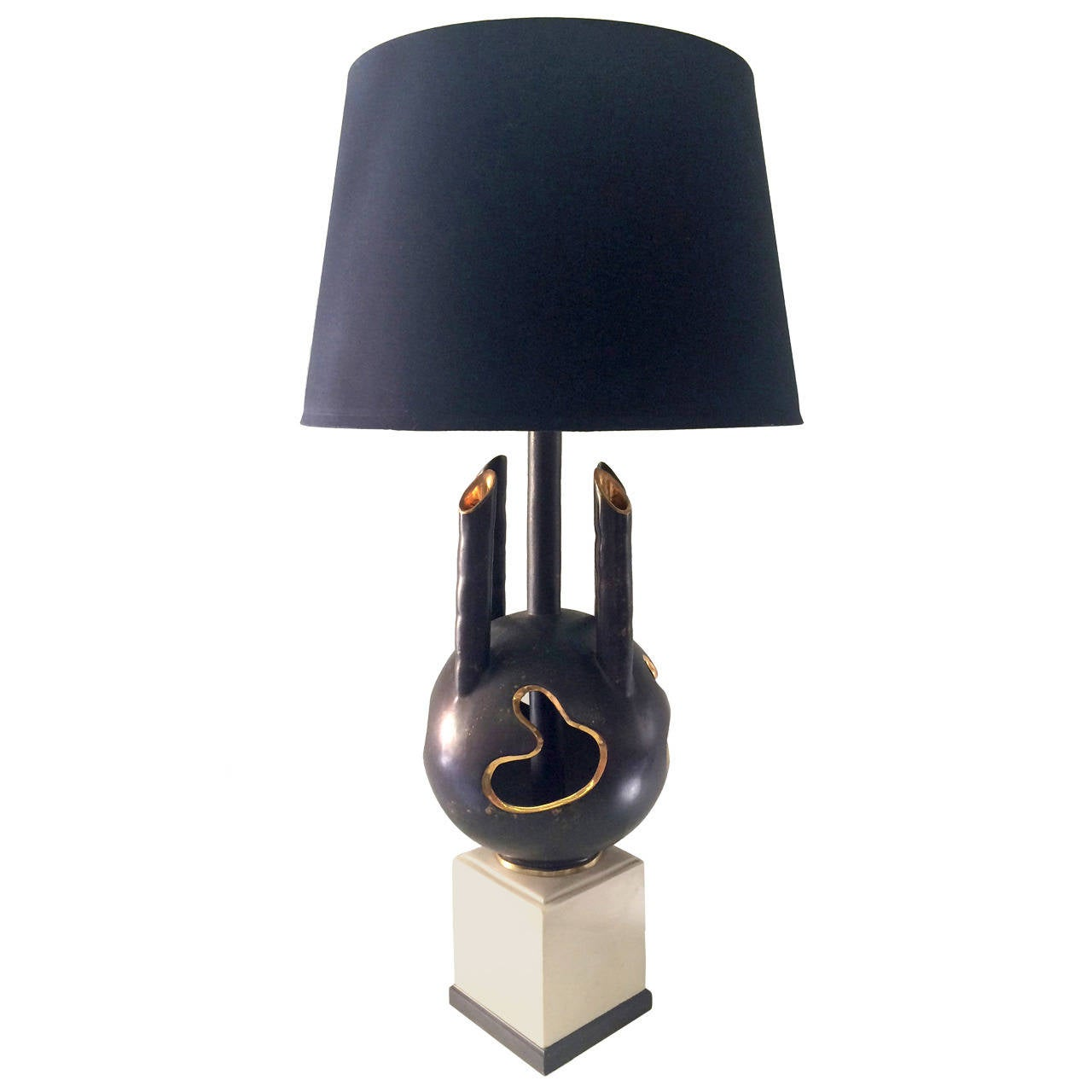 black and gold unusual ceramic table lamp at 1stdibs. Black Bedroom Furniture Sets. Home Design Ideas