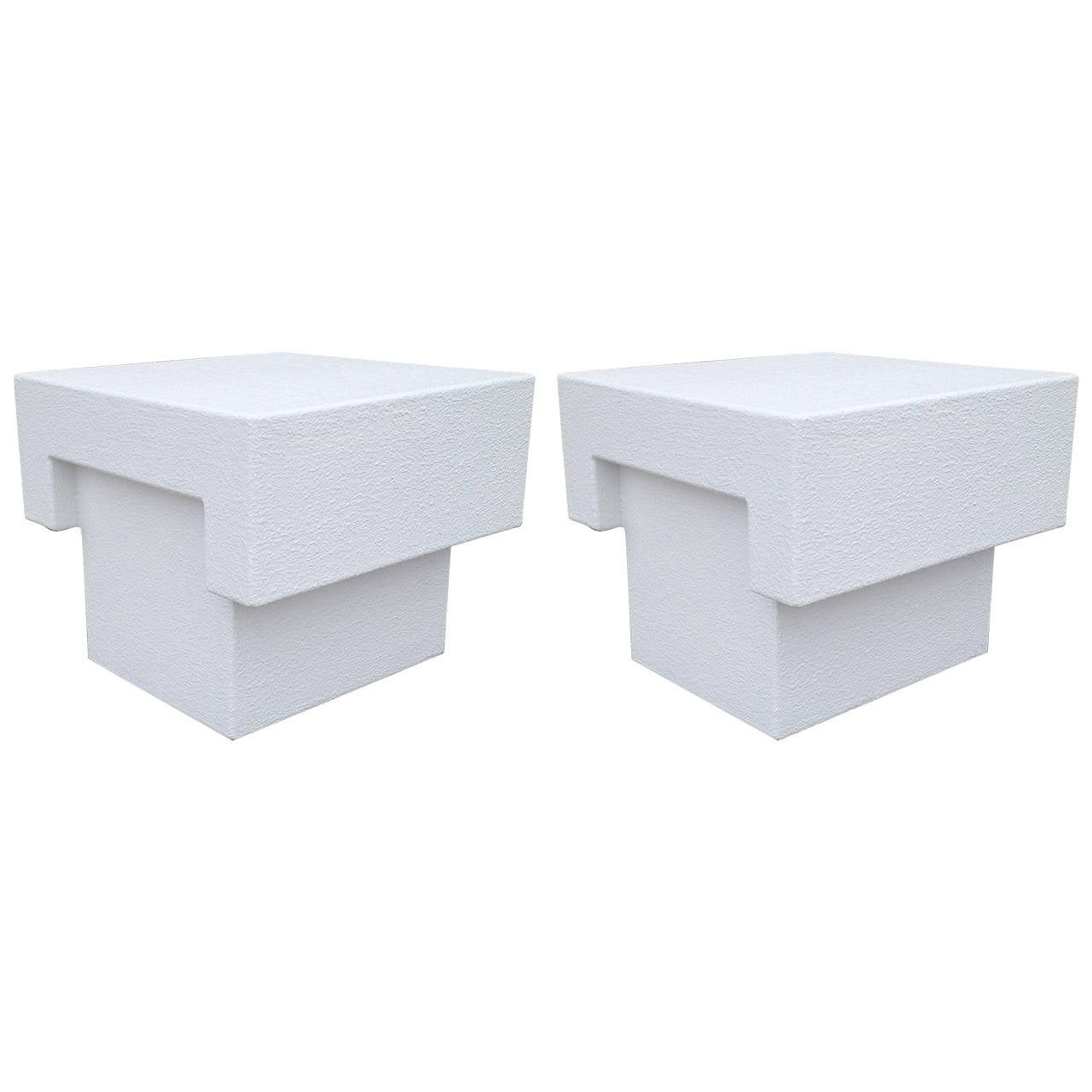 Architectonic Textured Plaster Pair of Side Tables