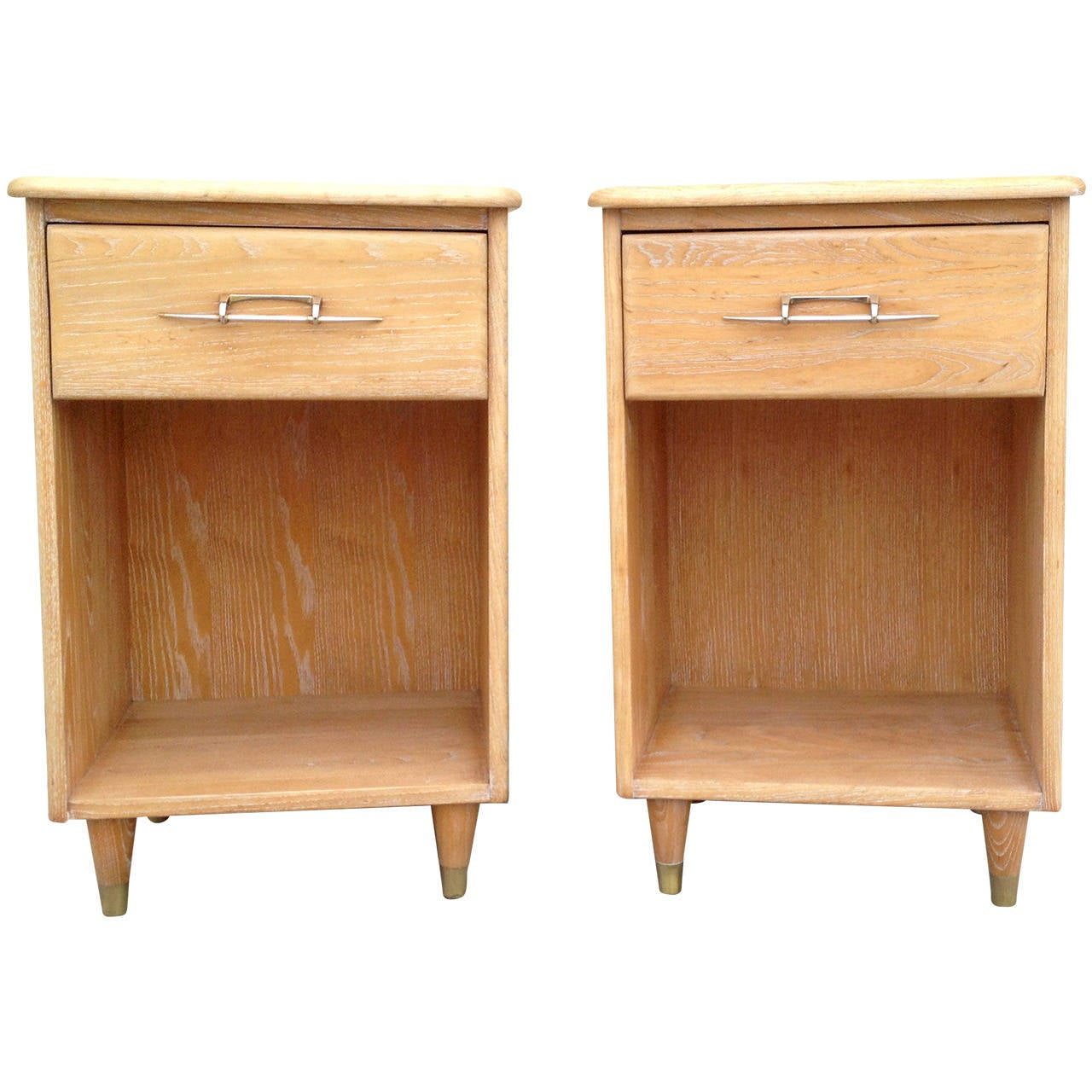 Pair of 1950s Nightstands with Subtle Cerused Finish