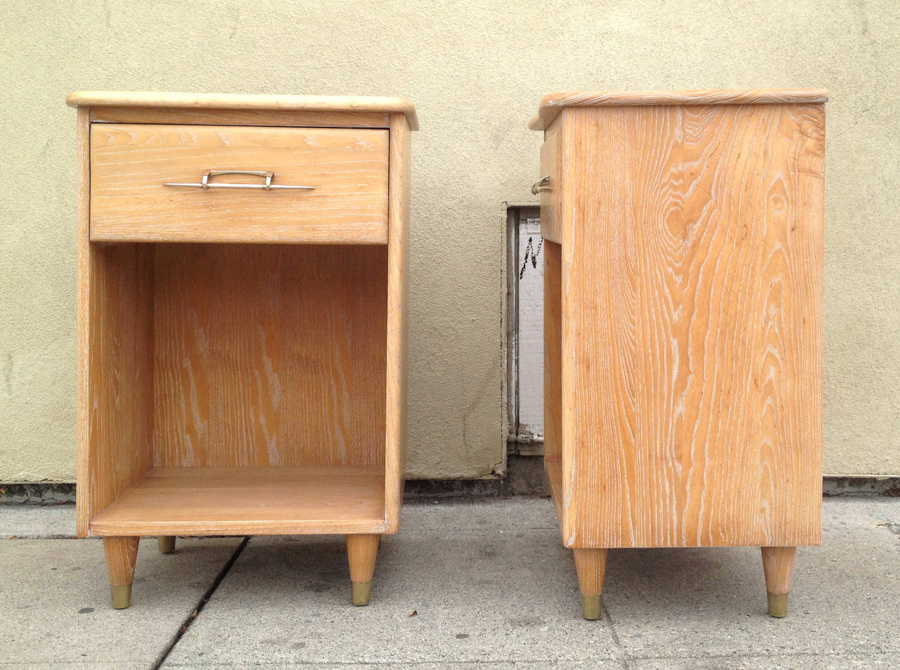 Brass Pair of 1950s Nightstands with Subtle Cerused Finish For Sale