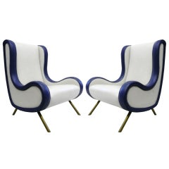 """Pair of """"Senior"""" Lounge Chairs by Marco Zanuso"""