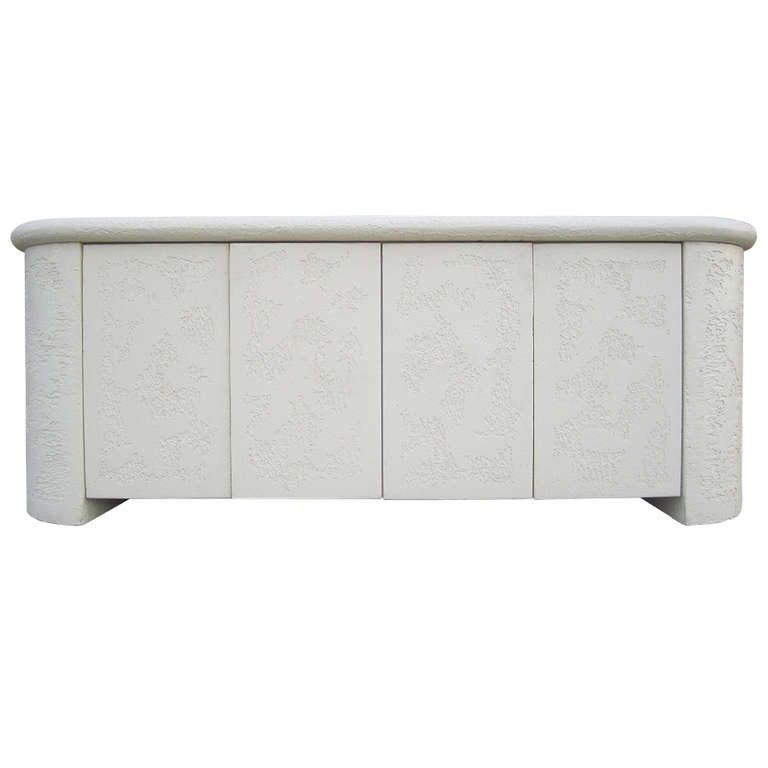 Faux Stone Textured Credenza