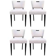 Four Elegant Dining Chairs with Ebonized Wood Frame by Paul Laszlo