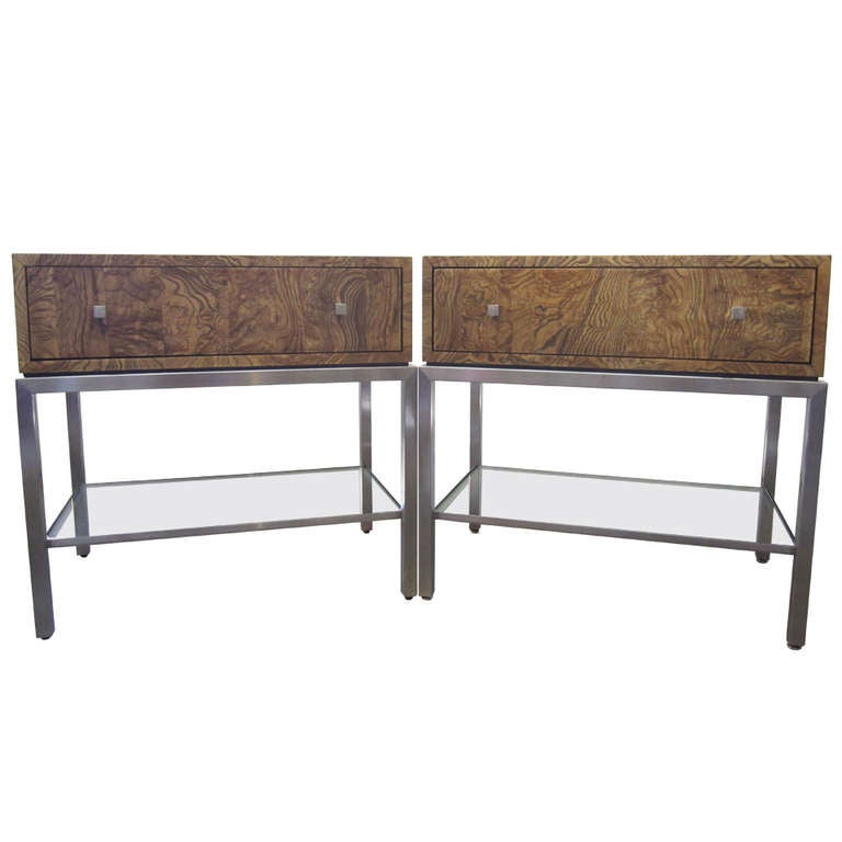 Burlwood Nightstands By Ethan Allen Pair At 1stdibs