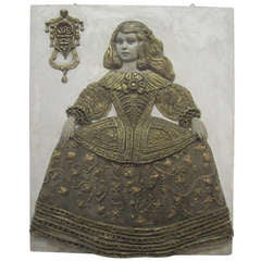 Plaster Relief Sculpture of Young Girl after Velazquez