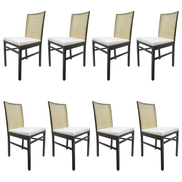 Italian Cane Back Dining Chairs, Set of Eight For Sale