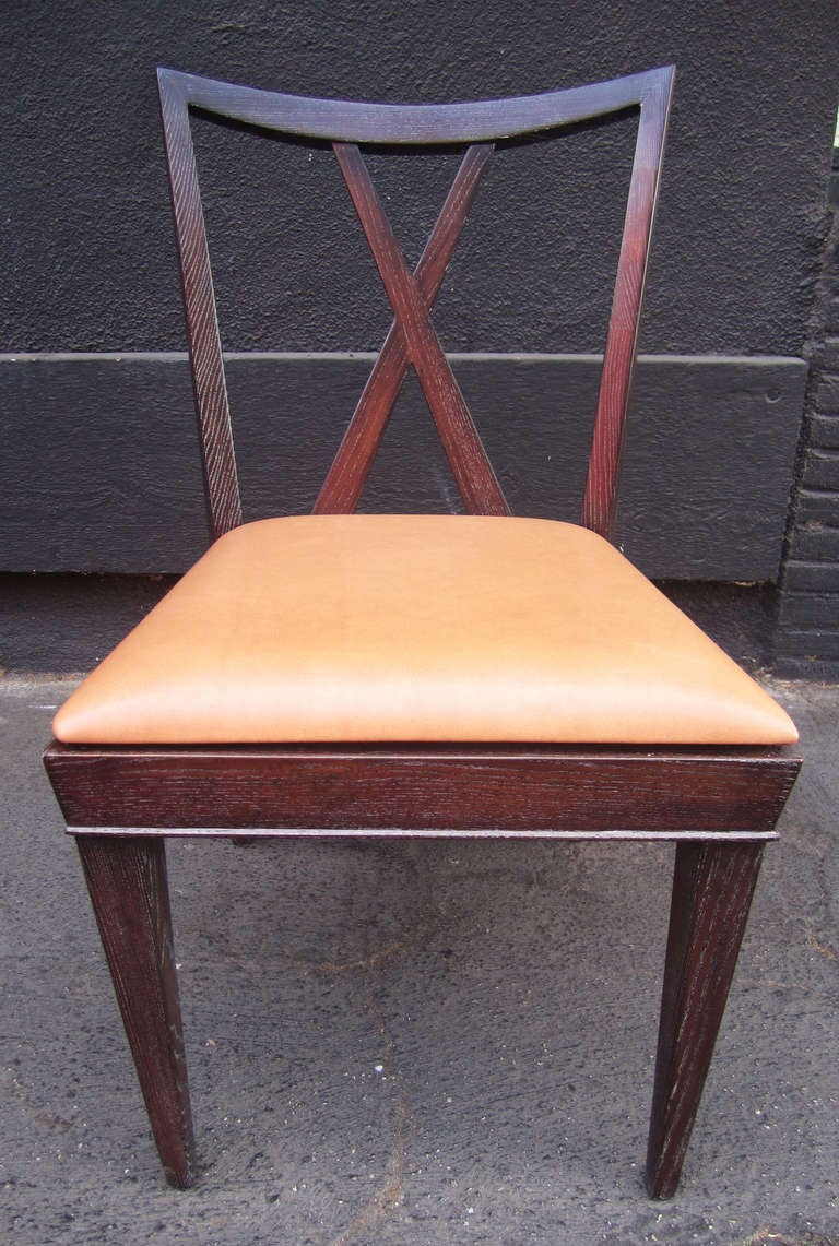 Set of 6 X-Back Dining Chairs by Paul Frankl In Excellent Condition For Sale In Los Angeles, CA