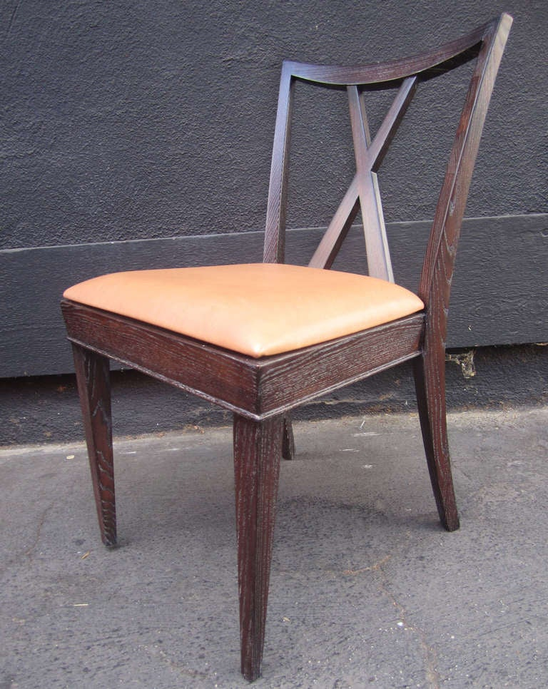 Mid-Century Modern Set of 6 X-Back Dining Chairs by Paul Frankl For Sale