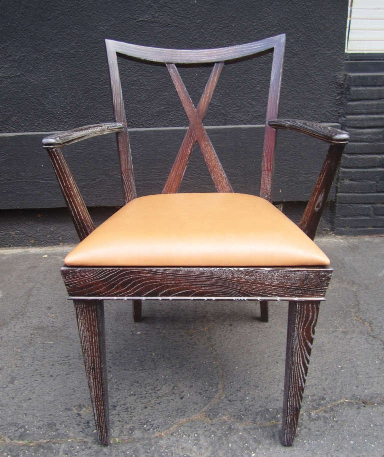 American Set of 6 X-Back Dining Chairs by Paul Frankl For Sale